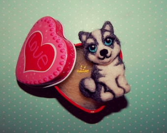 Husky Miniature custom pet portrait dog memorial Husky Needle felt dog brooch Pet loss gifts Felt Animals dog ornament