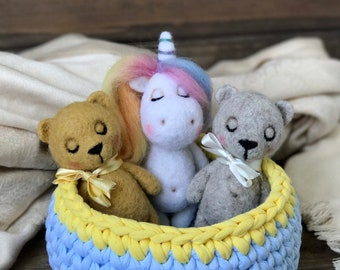Set of wool toys for newborn photography, felted toy newborn props, felt toy unicorn, Newborn props photography bear toy, felted animal