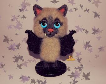 Felted Bat Halloween ornaments Halloween decor halloween decorations Halloween Bat toy Needle Vampire Bat Needle Felted Animal Felt toy
