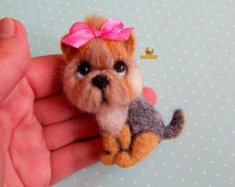 Ready to ship Yorkie Yorkshire Terrier Felt brooch Needle felted animal Miniature Personalized Pet Miniature animal jewelry dog lover gifts