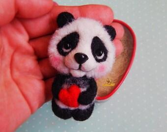 Felt brooch Panda, brooch panda, jewelry panda, panda pin, needle felted brooch, gifts for kids, Kids gifts, Felt Animals, Jewelry Bear Pin