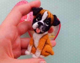 Felt brooch dog Boxer, pet portrait Boxer, dog memorial, needle felt dog brooch, Pet loss gifts, dog ornament, Felt Animals, felt jewelry