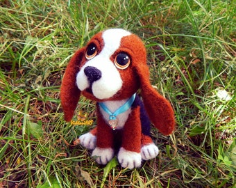 Felt dog Beagle Needle felted dog Beagle portrait needle felted animails dog lover gifts Toy Gift Puppy toys dog sculpture Felted miniature