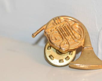 Vintage French Horn Tie Tack, French Horn Hat Pin, French Horn Lapel Pin,  Vintage Musician Gift,