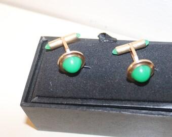 fc48fe9b6c1d Vintage Cufflinks, Art Deco Green Chrysoprase Cuff Links Vintage Groom  Gift, Men's Wedding Tuxedo Cufflinks, Gold Filled