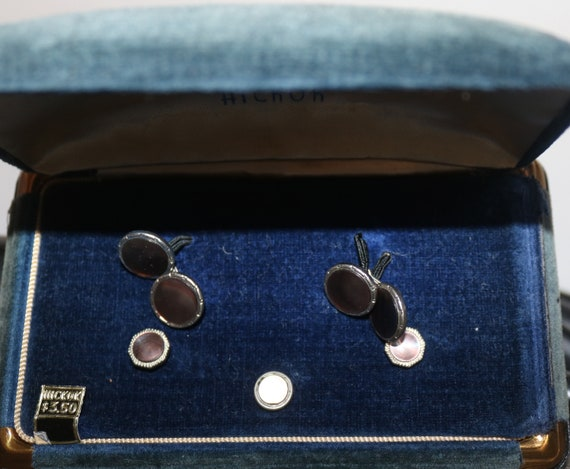 Black Diamond Dust Tuxedo Cufflinks and Studs Set Formal Cuff Links