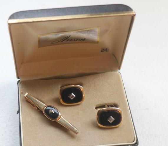 Vintage Cufflinks, Black Onyx Diamond Cufflinks, W