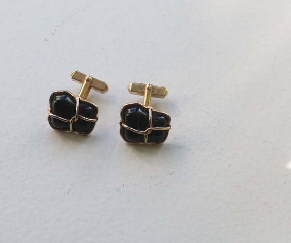 Wedding Prom accessory Vintage Onyx CuffLinks Vintage Black Silver Cufflinks Men/'s  Jewelry Gift Box