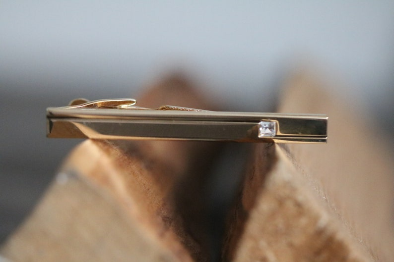 Tie Accessory Mens Fathers day Vintage Tie Clasp Tie Bar Minimalistic Rhinestone Crystal Gold Tone Tie Bar Dad