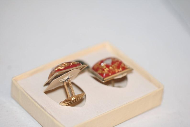 24 Kt Gold Red Cufflinks Vintage Menswear Mid Century Cufflinks Confetti Cuff links Vintage Cufflinks Men/'s gift Business,,