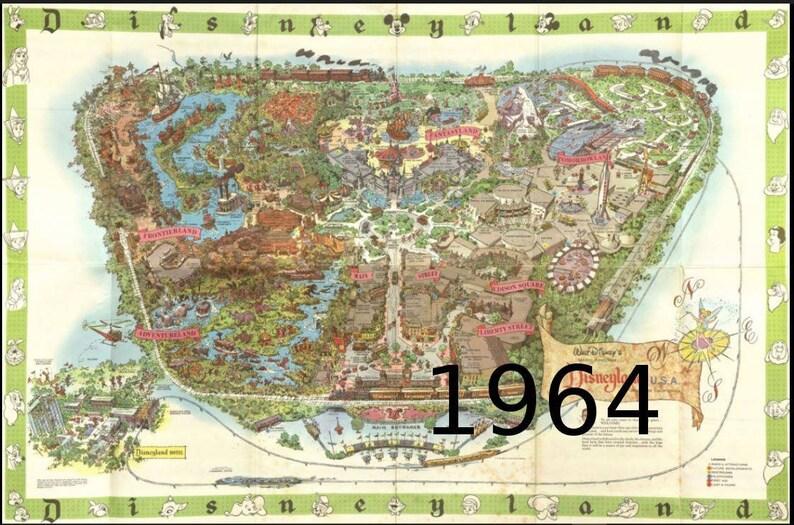 1964 Disney Disneyland map Disneyland Disney Decor | Etsy on