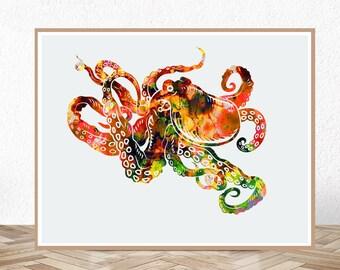 Octopus, Octopus Art, Octopus Print, Octopus Wall art, Home decor, Watercolor Print, Nursery, Child room decor idea, Watercolor art, Gift