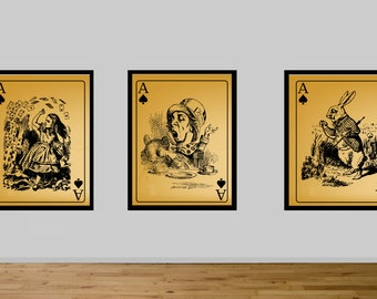 alice, alice in wonderland, mad hatter,  White rabbit, alice liddell, play card, playing cards, personalized playing cards, large playing ca