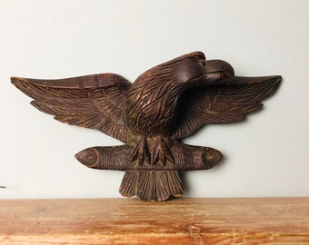 8 Antique Wooden carved 19th century Black Forest eagle with glass eye wall sculpture vintage handmade decor