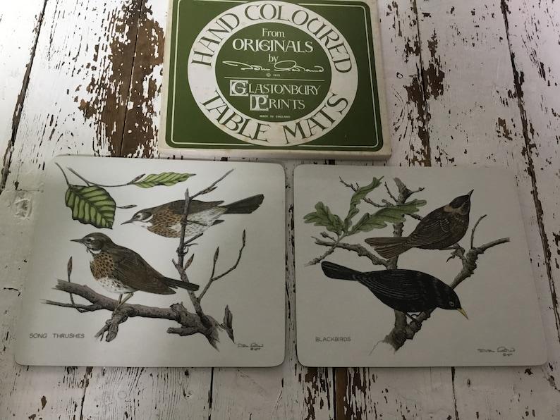 Hand coloured from originals John Morland 1977 Glastonbury prints rare Set of Dinner Table place mats Birds blackbird song thrush
