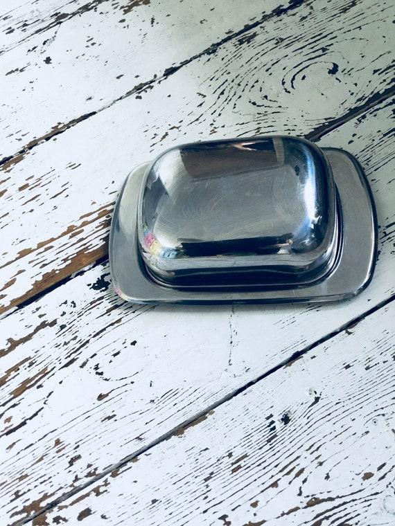 Milieu du siècle beurrier en acier inoxydable - rétro - cuisine - argent - lidded pot à couvercle