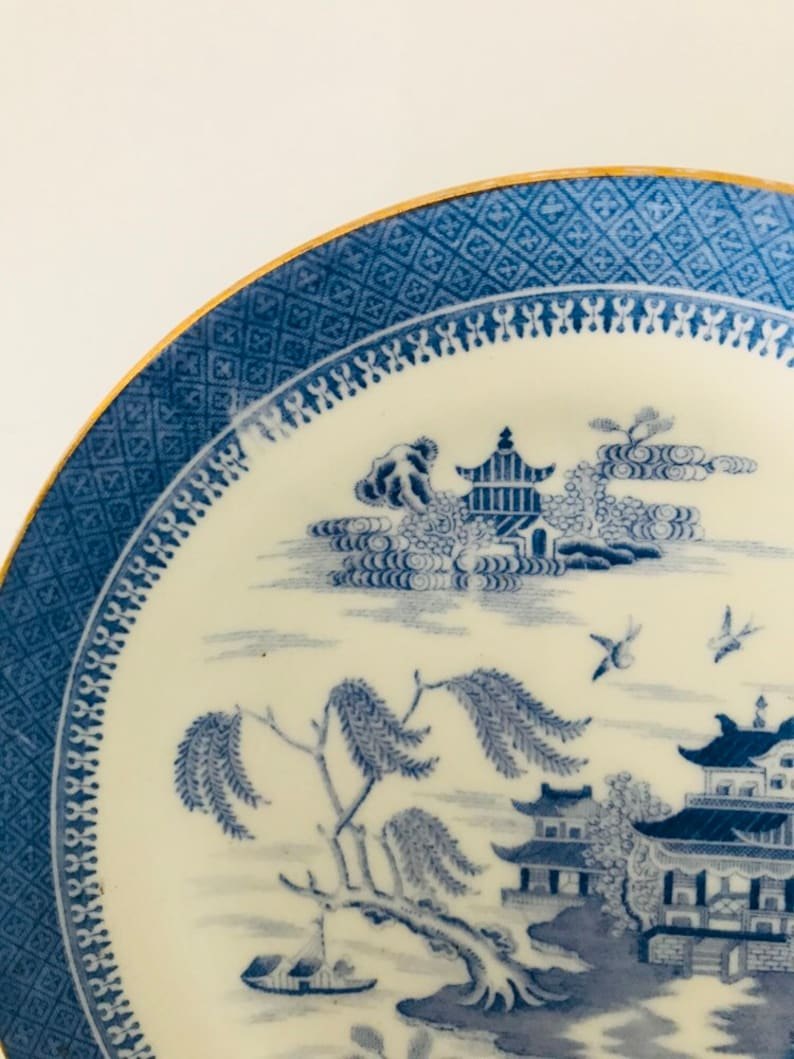 Blue white gold Antique Copeland Spode Gilded Blue Willow  Mandarin 1327-17.5 cm Side plate 8 Pretty Oriental set of 2