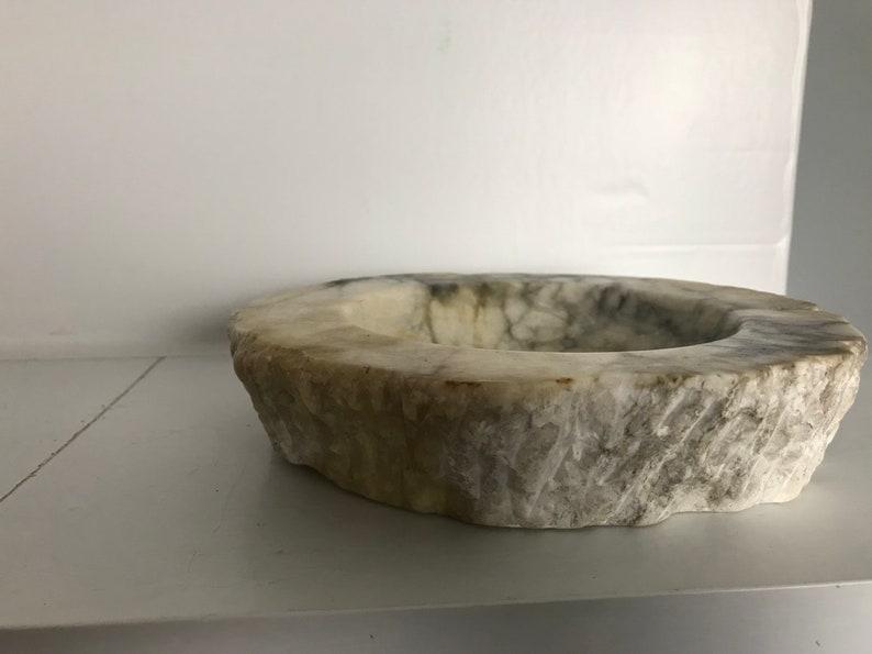 Rustic marble effect Heavy chunky ashtray bowl Granite grey white chunk 11