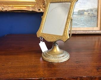 Stunning Art nouveau Brass worn natural Vanity dressing table beauty mirror - Bathroom Bedroom tilt adjustable (78)