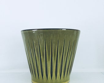 Retro vibrant Holland green stripe mid century olive - interior green - home flowers - plant pot