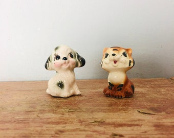 Retro Kitsch Cat Tiger  & Dog Vintage big eyed hand painted miniature figures collectable (116) (jb)