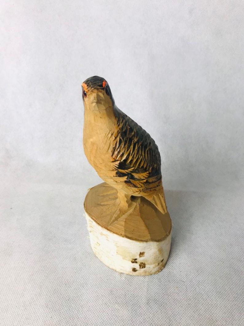 Pheasant Hand Wood Carving Sculpture Rustic Cabin Decor