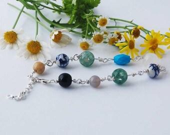 Boho Bead Bracelet/Handmade Bracelet/Hippy Bracelet/Bead Jewellery/Oriental Bracelet/Semi Precious Stone Bracelet/Gift for Her