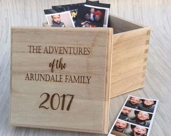 Family Adventures Personalised Wooden Cube Engraved Box Various Sizes Any Year