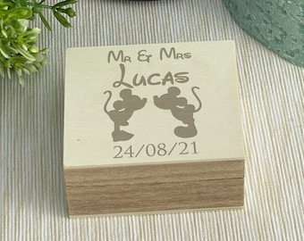 Mickey & Minnie Disney Double Ring Bearer Box Wedding Day Personalised Gift
