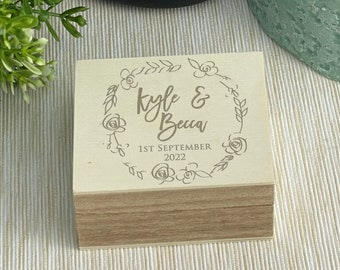Floral Wreath Double Ring Presenter Box Wedding Day Personalised Bearer Gift