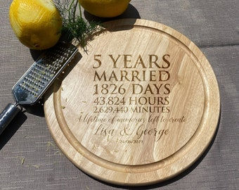 5 Years Married Wooden Chopping Board - Fifth Anniversary Gift - Personalised