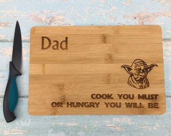 Cook You Must Yoda Star Wars Chopping Board Personalised Gift Kitchen Bread