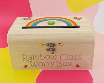 Worry Box Primary School Drop Box Rainbow Personalised Pupils Mental Health