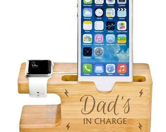 Dad's In Charge Father's Day Personalised Phone and Watch Holder Gift Desk