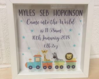 Personalised Baby Boy Shadow Frame – New Baby / Christening Gift