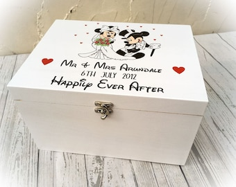 Mickey Mouse & Minnie Mouse Wedding Day Memory Box Disney Gift Engagement Present Personalised Memories Mementos White
