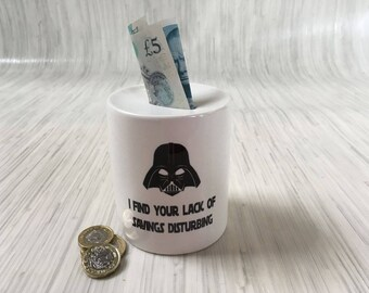 "Ceramic Money Box - Star wars Darth Vadar ""Lack of Savings"" - Great Gift Idea"