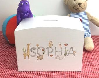 Animal Name Money Box Colourful Personalised Children's Saving Gift New Baby