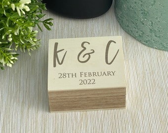 Initials & Date Double Ring Presenter Box Wedding Day Personalised Bearer Gift