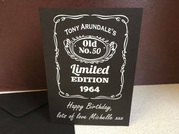 Personalised Jack Daniels Birthday Card Happy Birthday Etsy