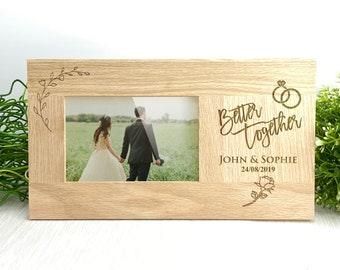 Better Together Wedding Photo Frame Personalised Gift Anniversary Wooden 6 x 4