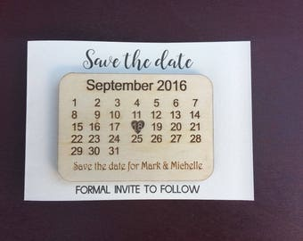Personalised Wood Engraved Calendar Save the Date Cards Fridge Magnets