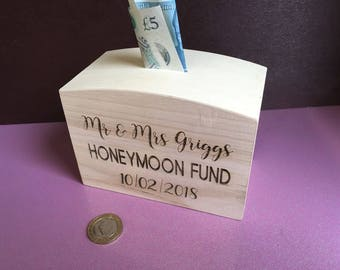Personalised Honeymoon Fund Money Box - engraved with Mr and Mrs name - Wedding