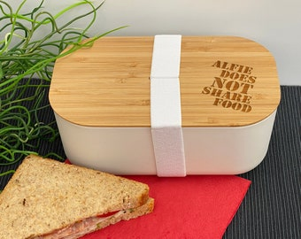 Does not share food Personalised Bamboo Eco Friendly Lunchbox School Work
