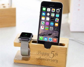 Happy 5th Anniversary Wooden Fifth Wedding Personalised Phone Watch Holder Gift
