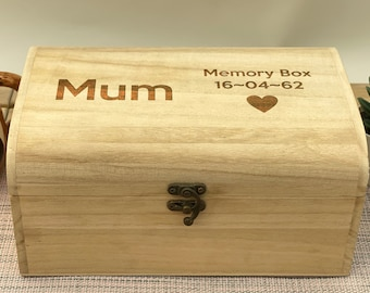 Memory Box With name and Date Heart Treasure Chest Gift Remembrance Grief Box Gift Couple Time Capsule
