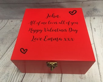 Valentines Day Memory Box - Personalised - Red Heart Design - Couple Anniversary