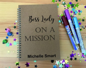 Personalised Journal Notebook Notepad Boss Lady on a Mission A5 Kraft Paper