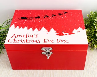 Snowy Silhouette with Santa and Reindeer - Red Personalised Christmas Eve Box