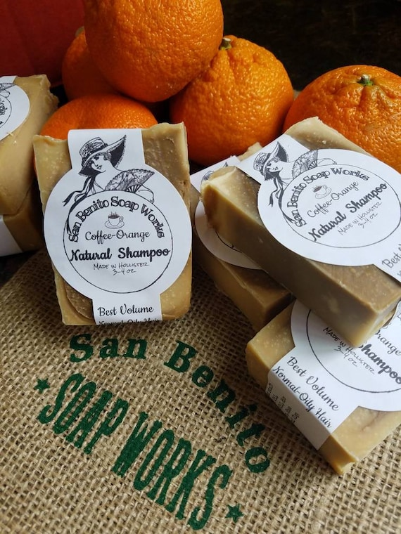 Wake up with COFFEE SHAMPOO Natural Soap Shampoo Bar Coffee Orange scent Volumizing Thin  Fine Oily Hair